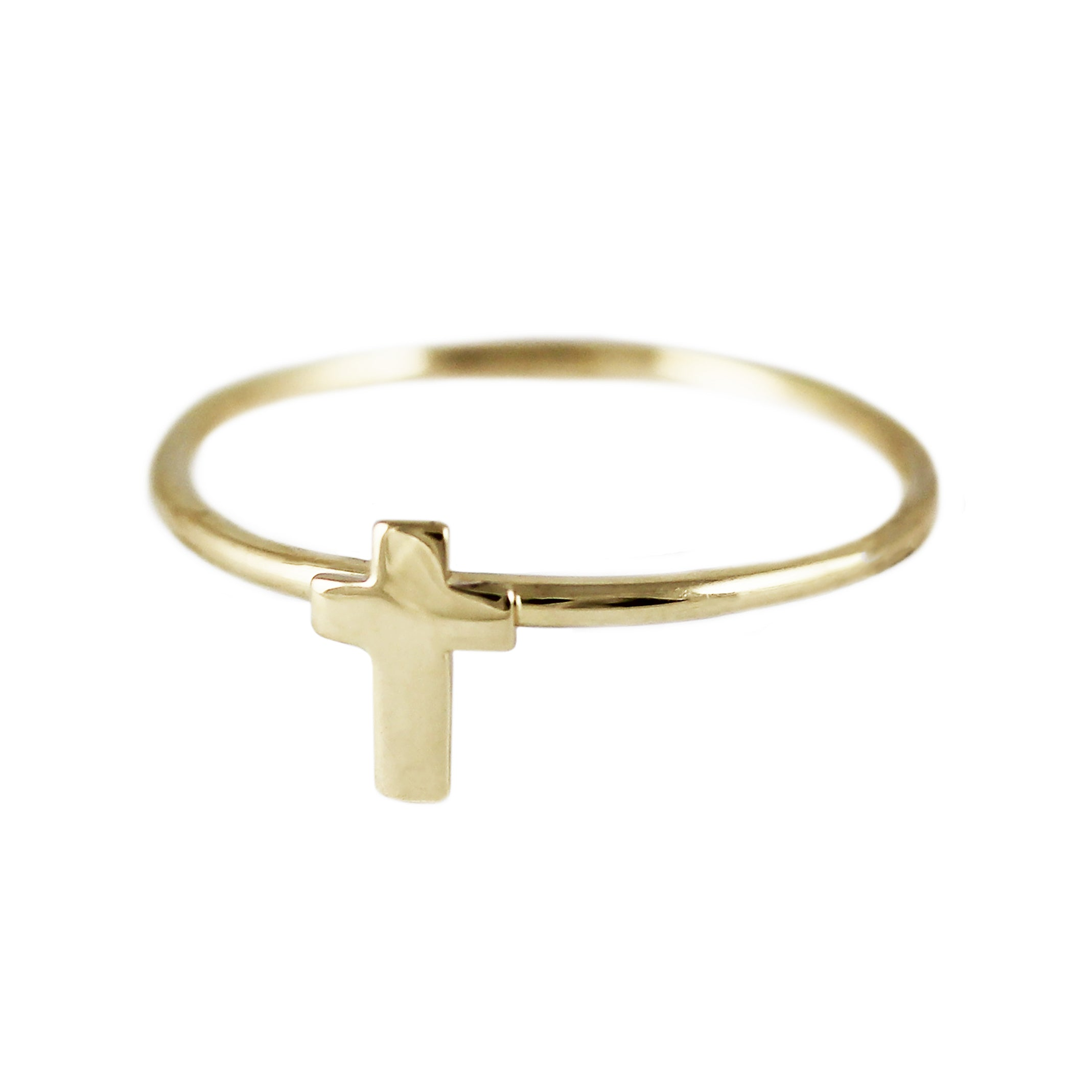 14K TINY CROSS RING