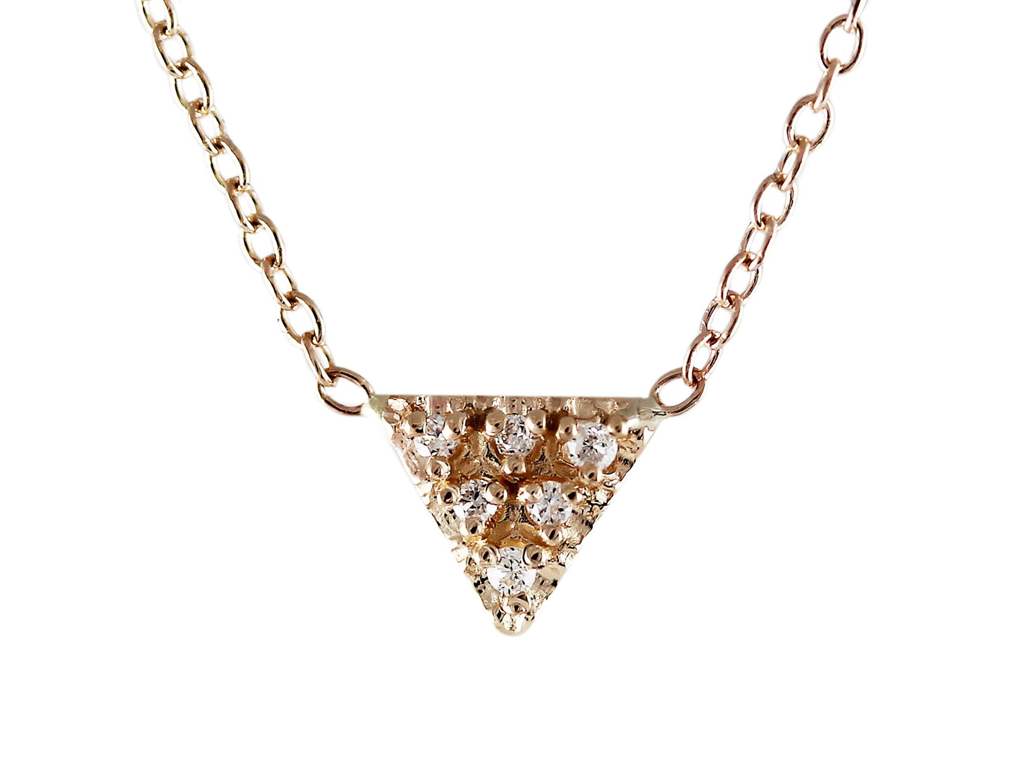 14K TRIANGLE WITH PAVE NECKLACE