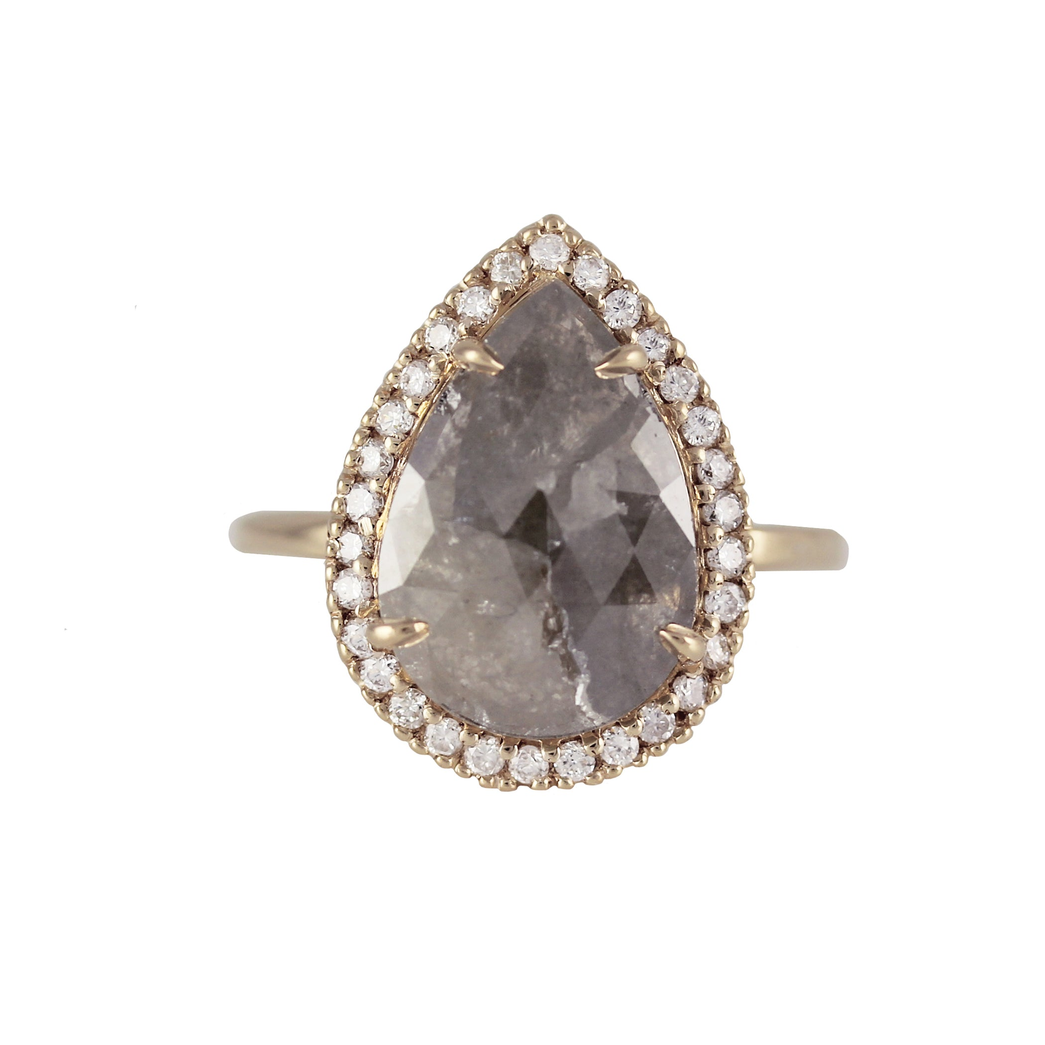 PEAR RUSTIC GREY DIAMOND WITH HALO RING