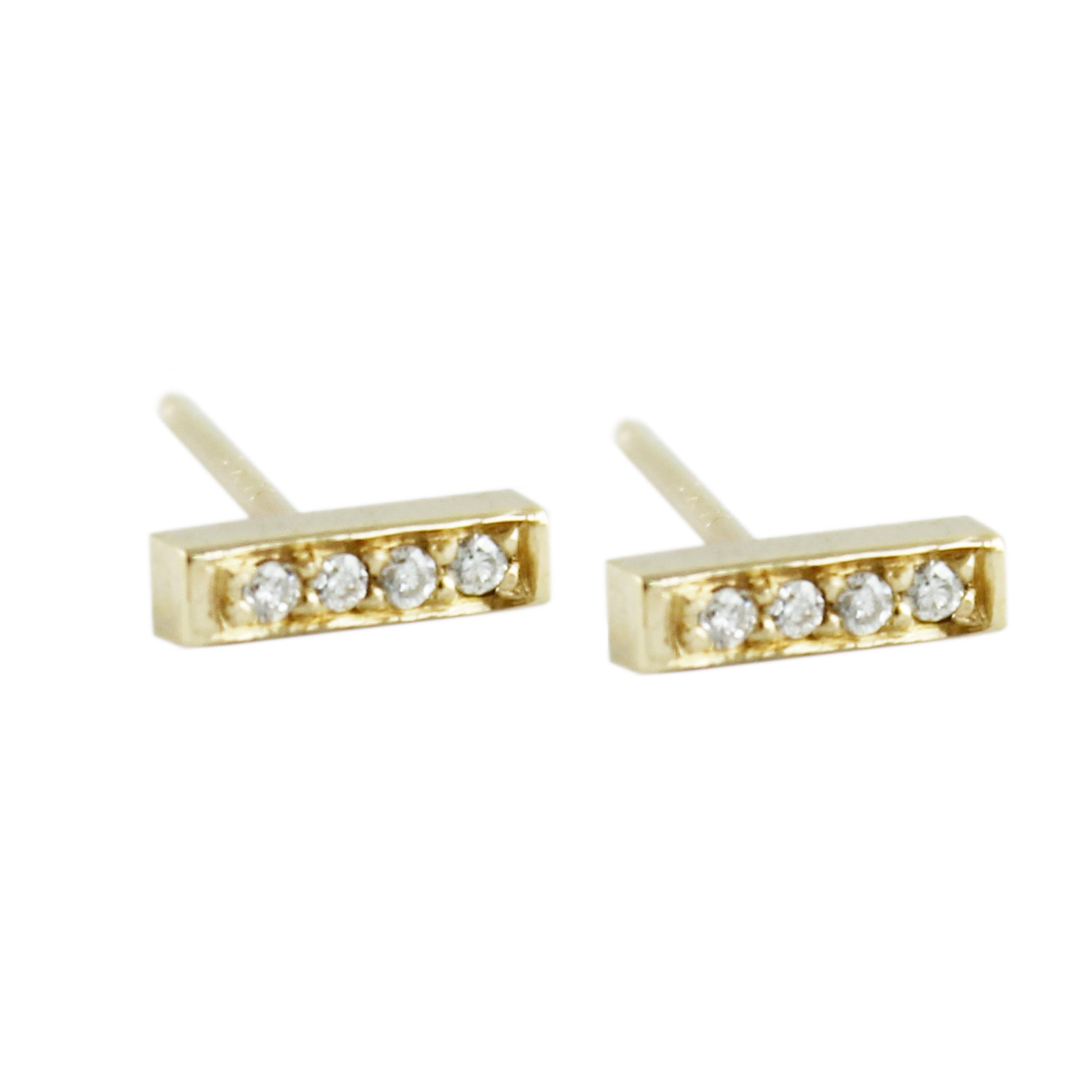 4 PAVE DIAMOND BAR STUDS