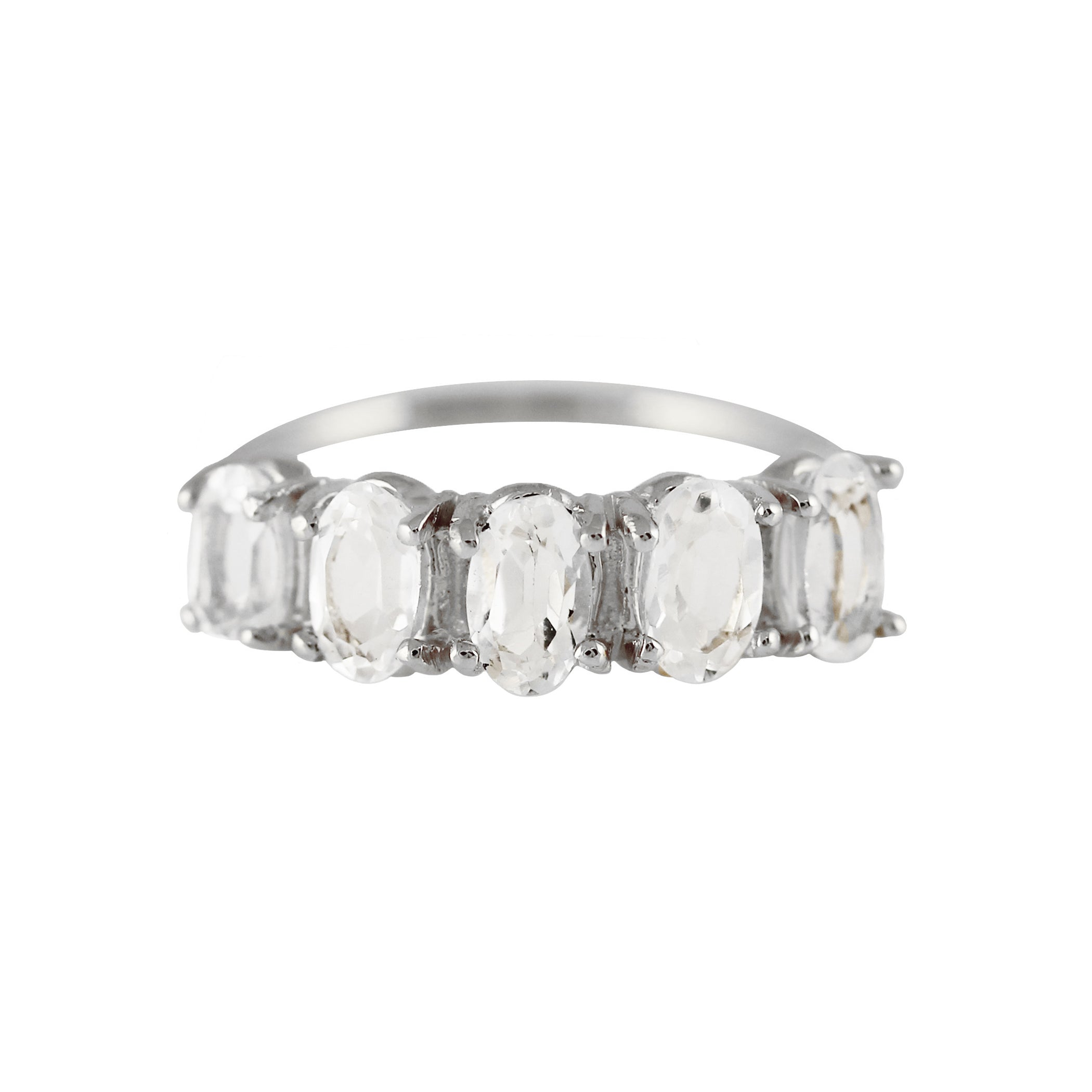 5 OVAL WHITE TOPAZ RING