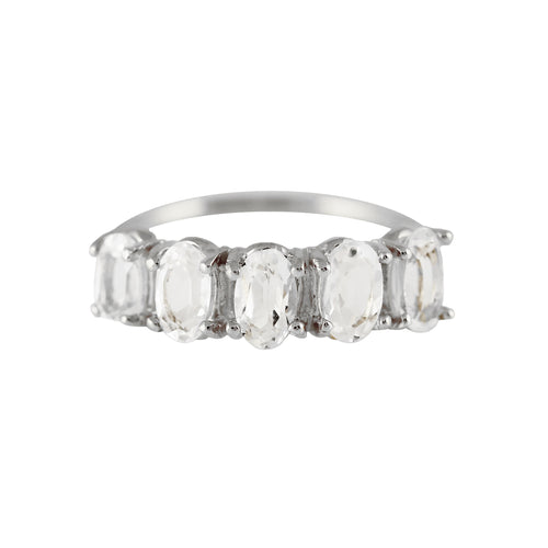 STERLING SILVER 5 OVAL WHITE TOPAZ RING