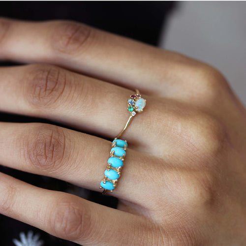 5 OVAL TURQUOISE RING