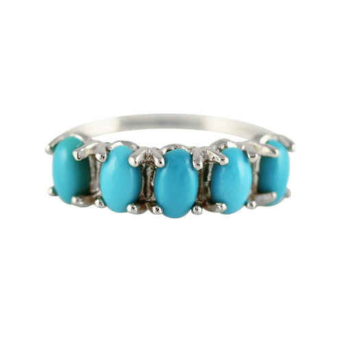 STERLING SILVER 5 OVAL TURQUOISE RING