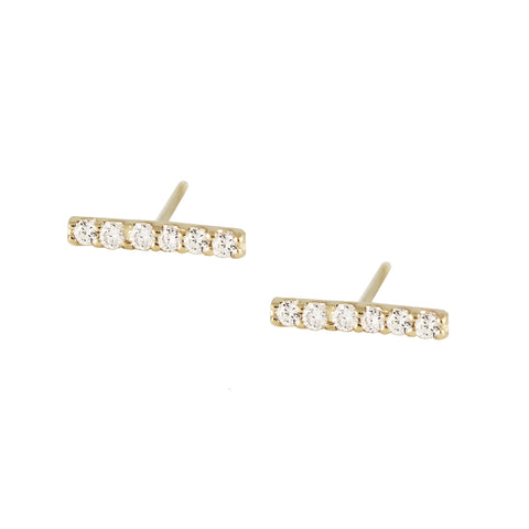 14K TINY DIAMOND HOOPS