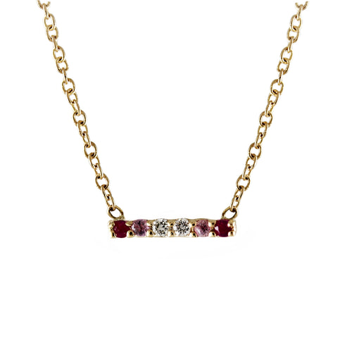 6 PINK SAPPHIRES AND DIAMONDS BAR NECKLACE