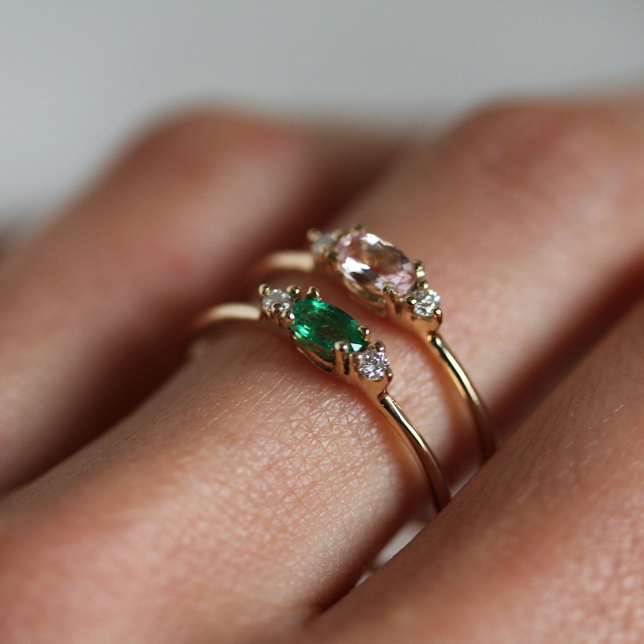 diamond a with asymmetric emerald jewellery engagement products ring small