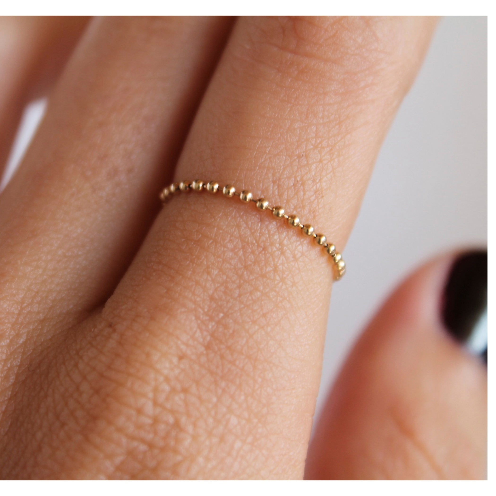 14K SOFT BALL CHAIN RING