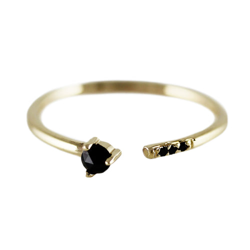 BLACK ROSE CUT DIAMOND CUFF RING WITH PAVE