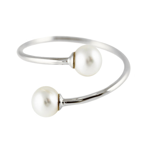SILVER BYPASS WHITE PEARL CUFF RING