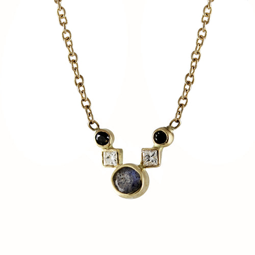 DECO ROUND LABRADORITE WITH DIAMONDS NECKLACE