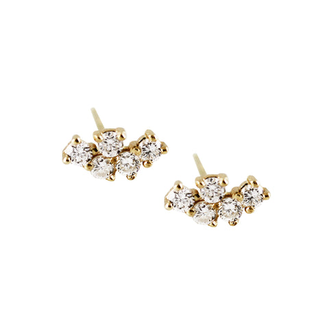6 DIAMOND PAVE BAR STUDS
