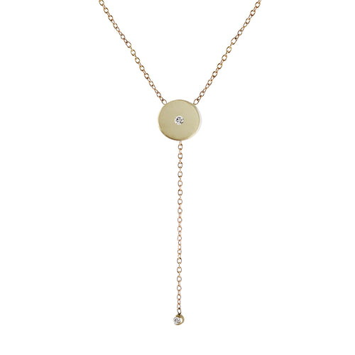 TINY DISK WITH DIAMOND LARIAT NECKLACE