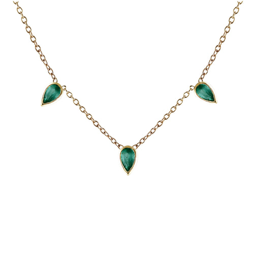 EMERALD PEAR TRIO NECKLACE