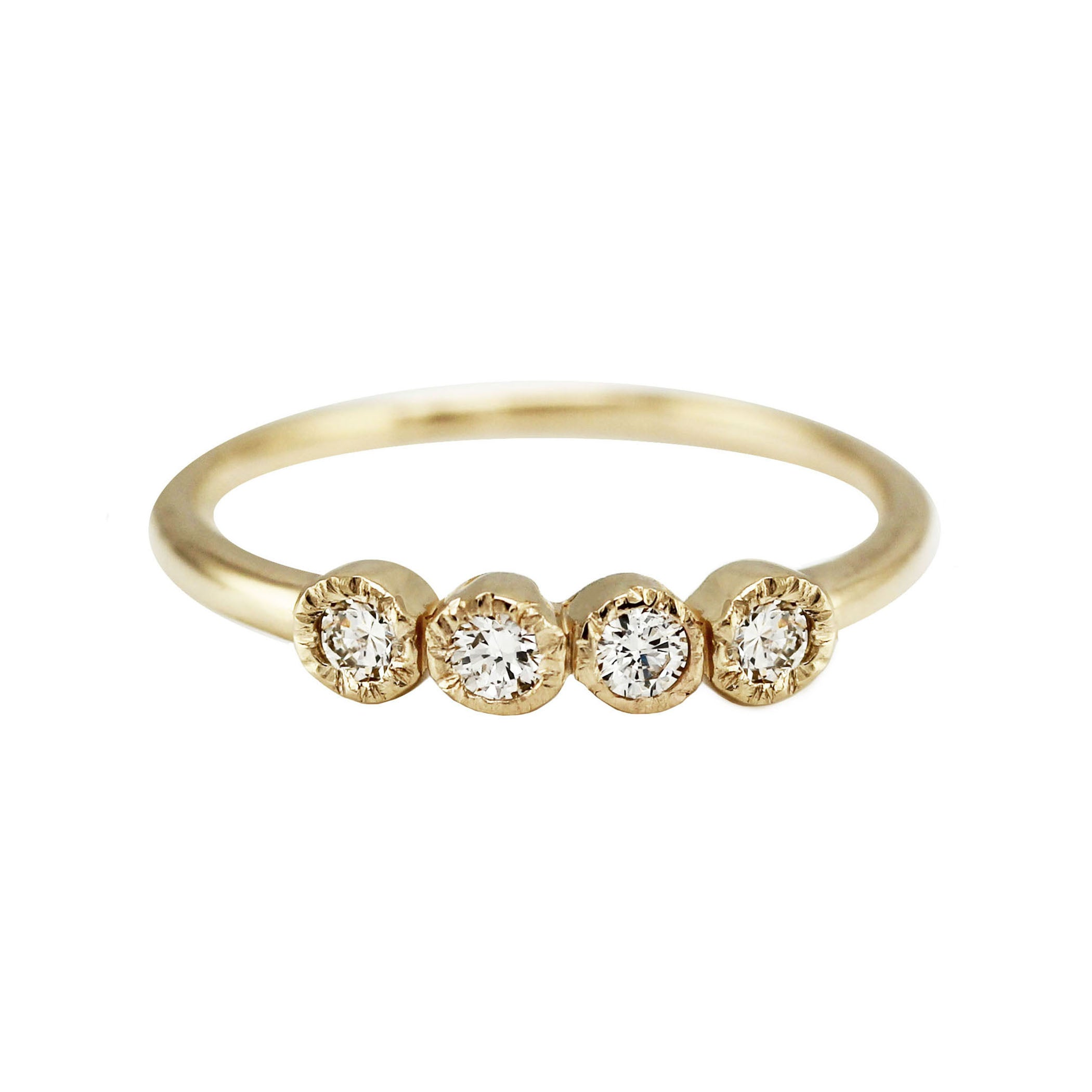 prong gold band with white ring diamond four product