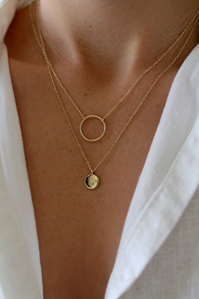 14K GOLDEN CIRCLE NECKLACE