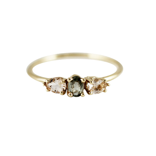 GREEN SAPPHIRE WITH MORGANITE PETALS RINGS