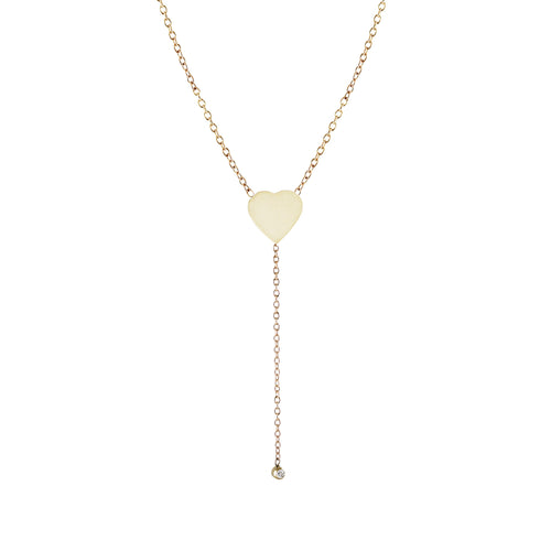 HEART LARIAT WITH DIAMOND NECKLACE