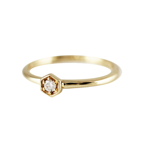 14K FAN DIAMOND BAND RING