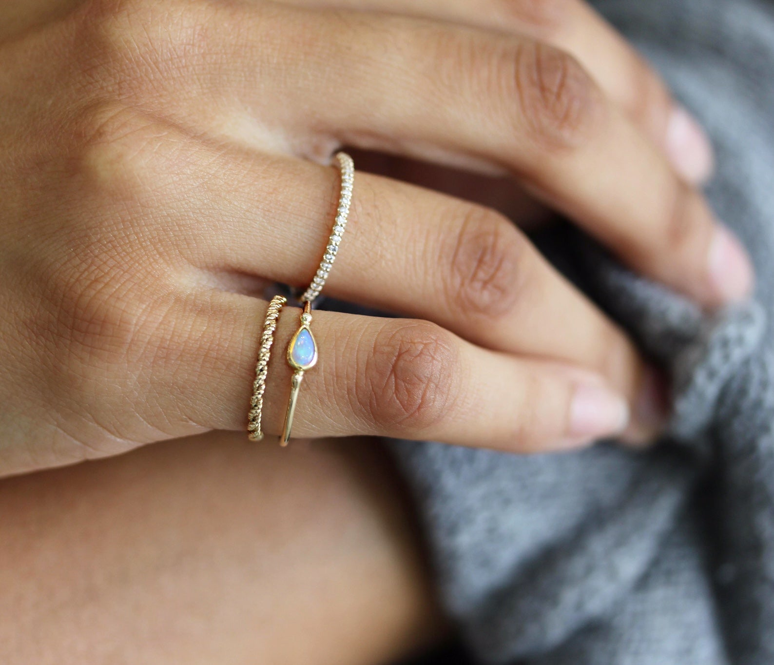 SIDEWAYS OPAL TEARDROP RING