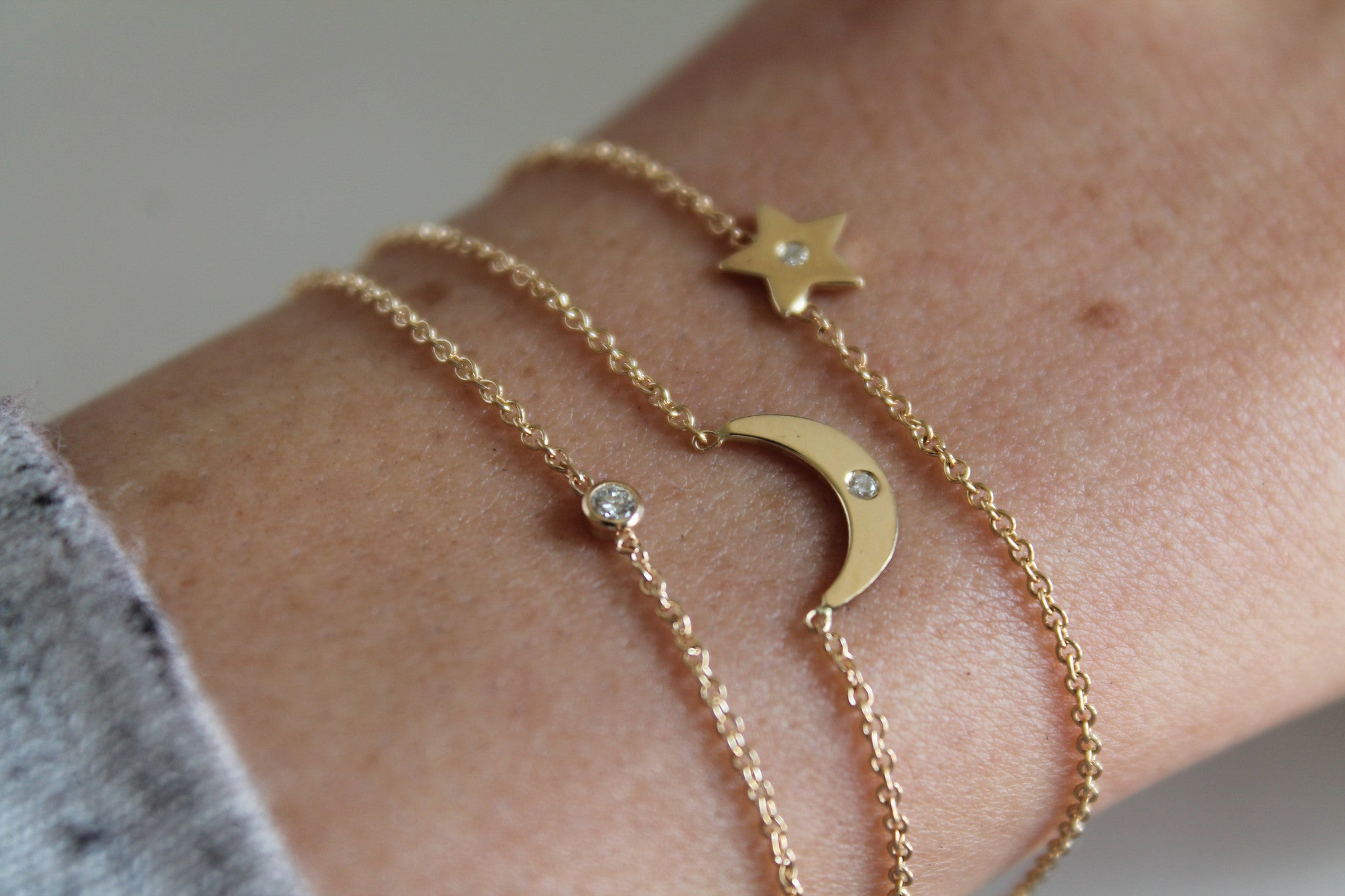14K STAR WITH DIAMOND BRACELET