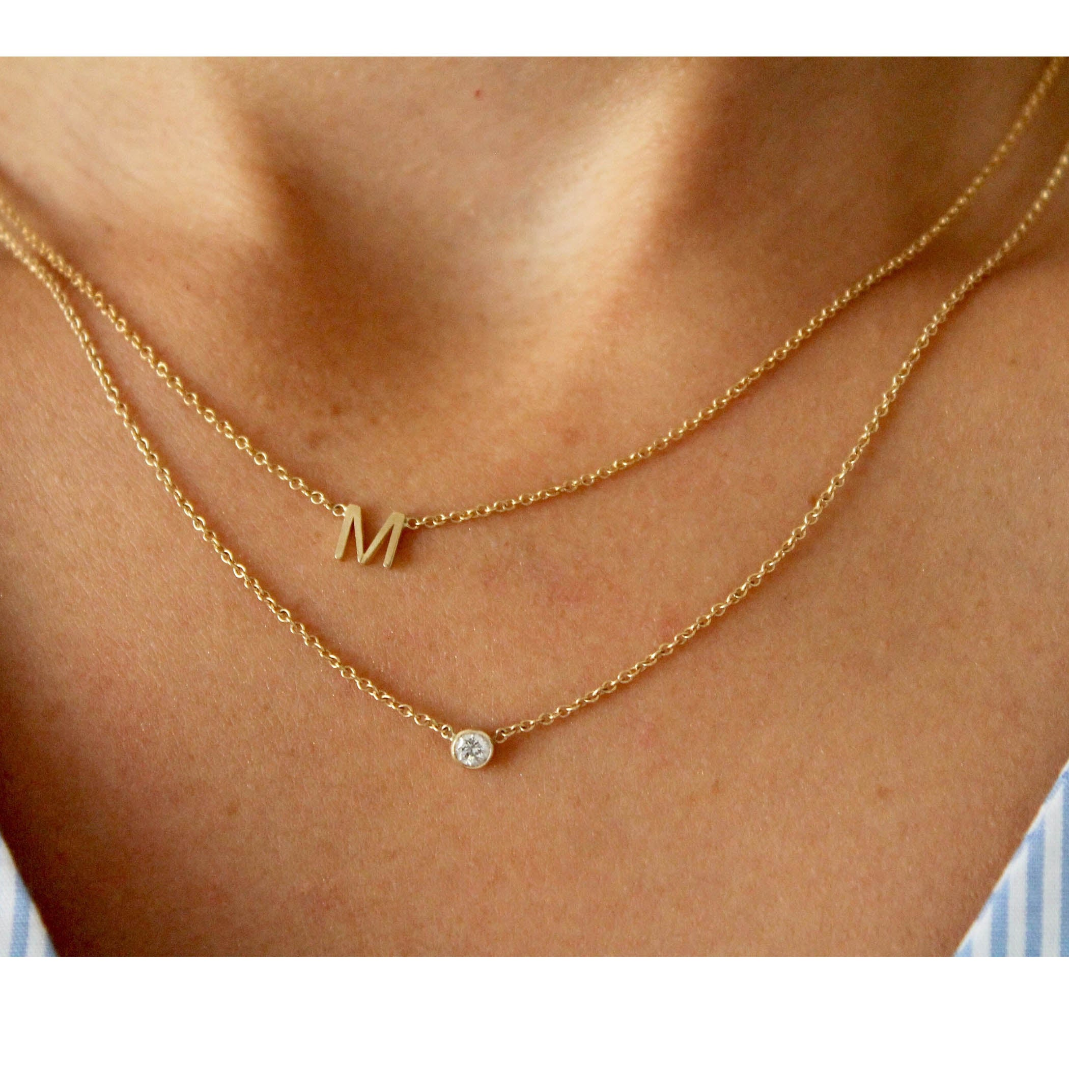 14k initial necklace lumo