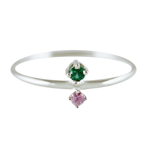 JUMELLE EMERALD SILVER RING