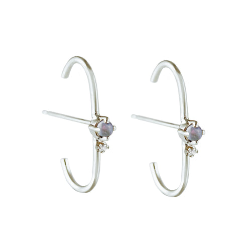 KITTA OPAL WITH TOPAZ SILVER STUDS