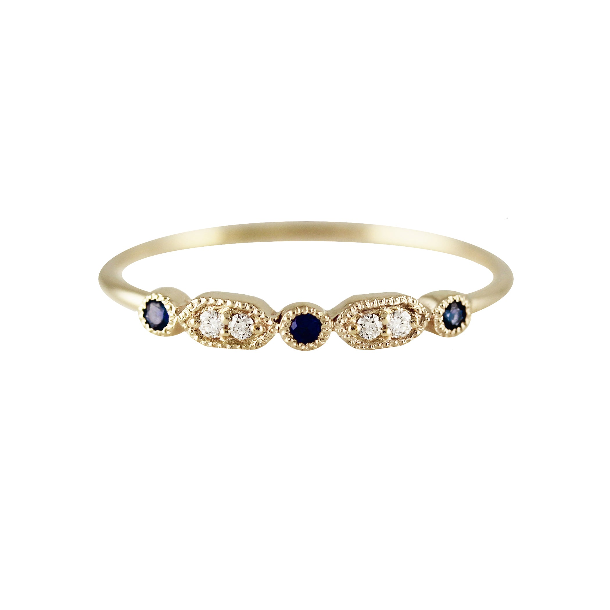 MINI DECO DIAMOND AND SAPPHIRE RING