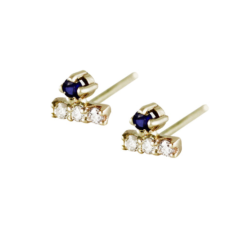 MINI DIAMOND PAVE BAR WITH SAPPHIRE ON TOP STUDS