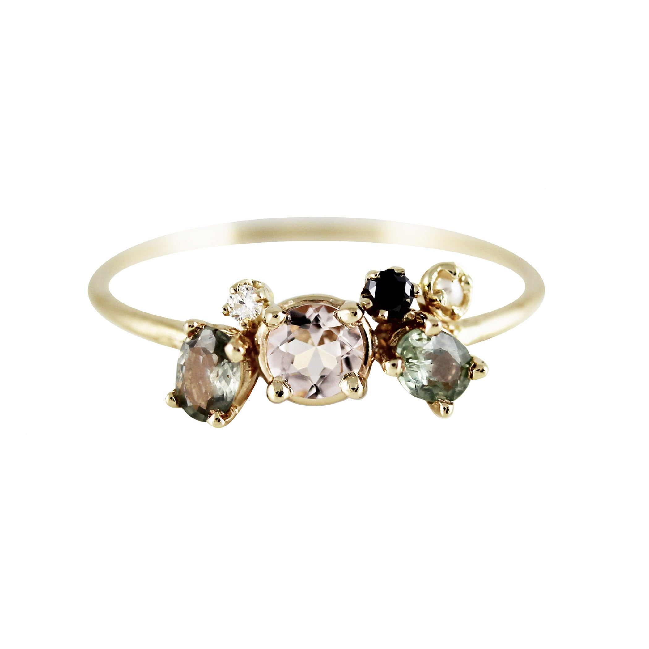 MORGANITE WITH GREEN SAPPHIRE WING RING