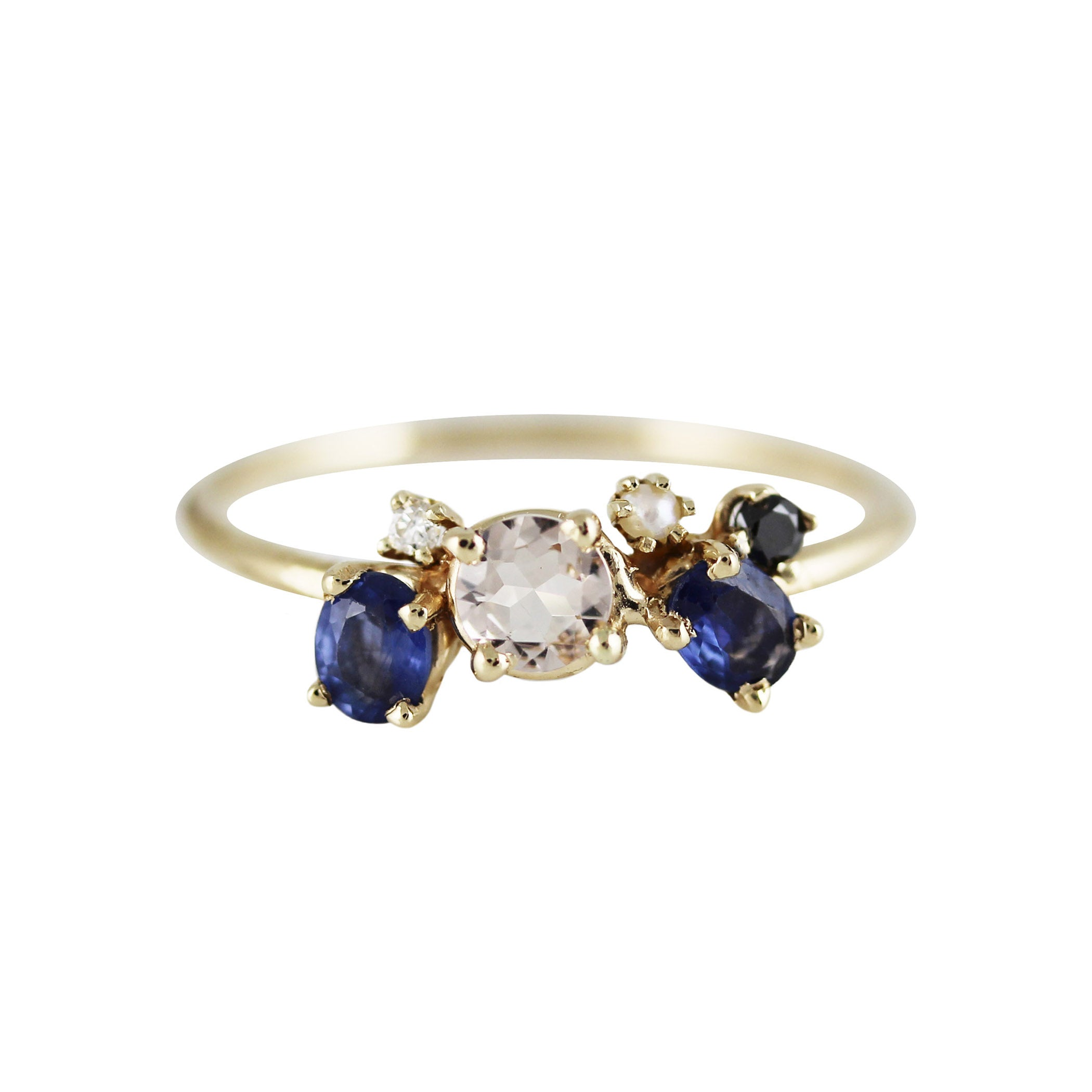 MORGANITE WITH BLUE SAPPHIRE WINGS RING
