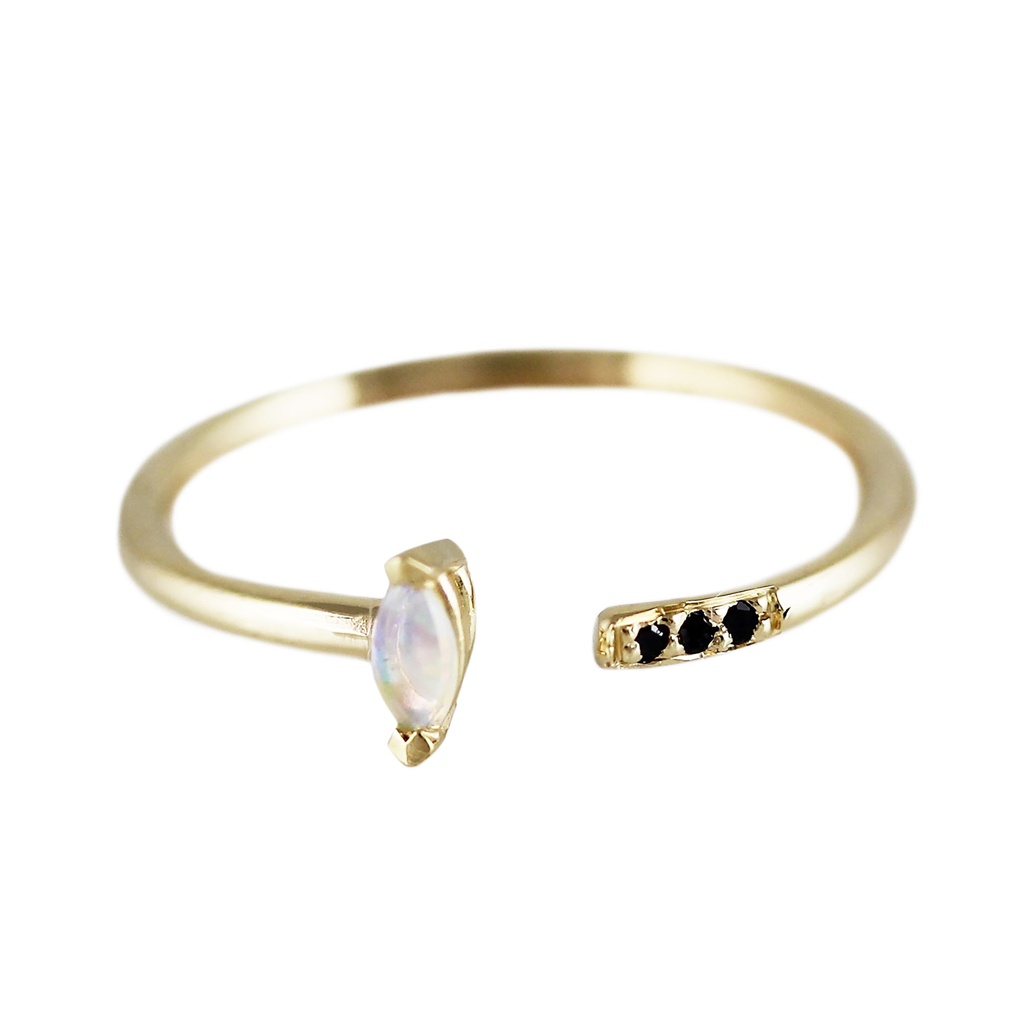 OPAL MARQUISE WITH PAVE CUFF RING