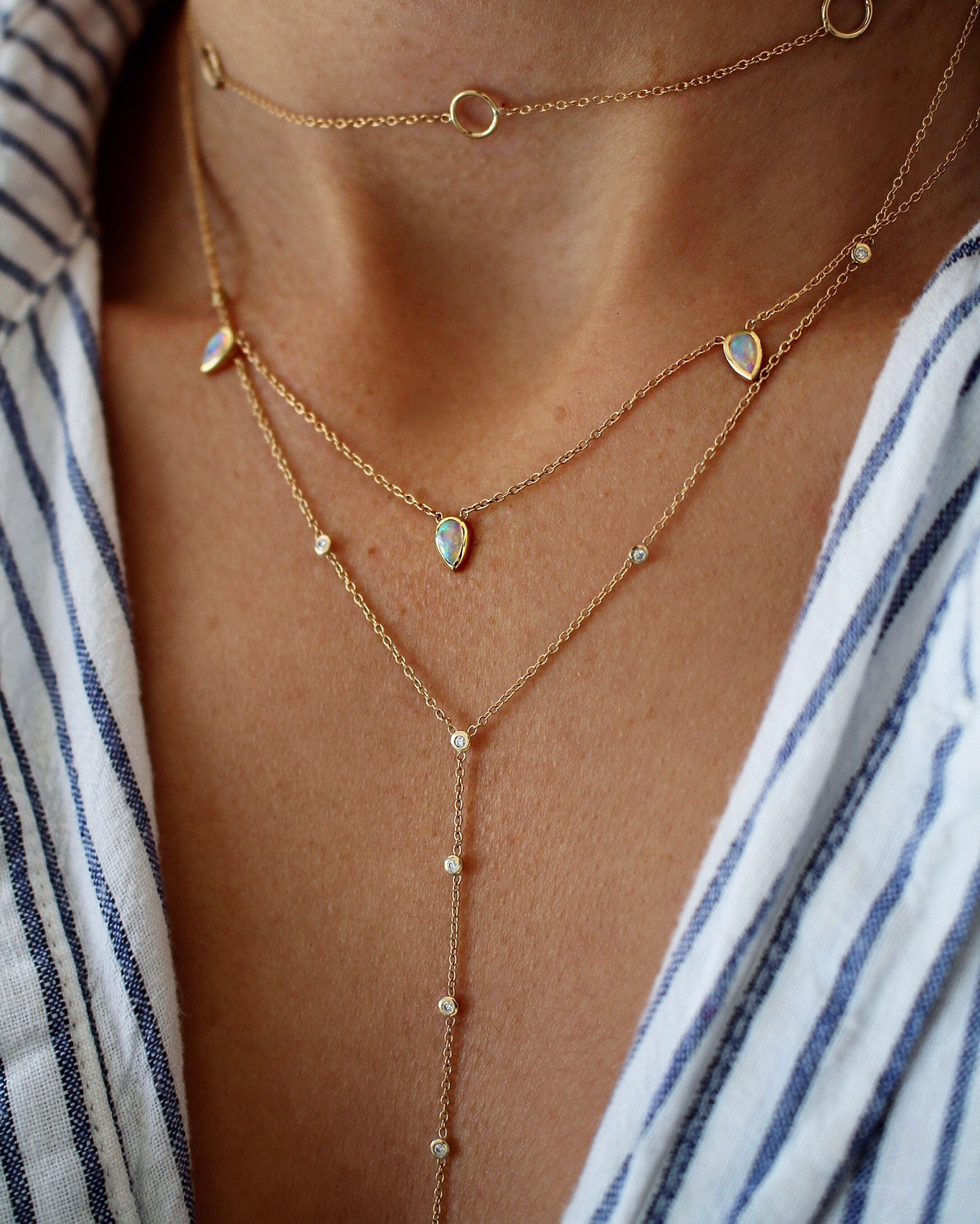 OPAL PEAR TRIO NECKLACE