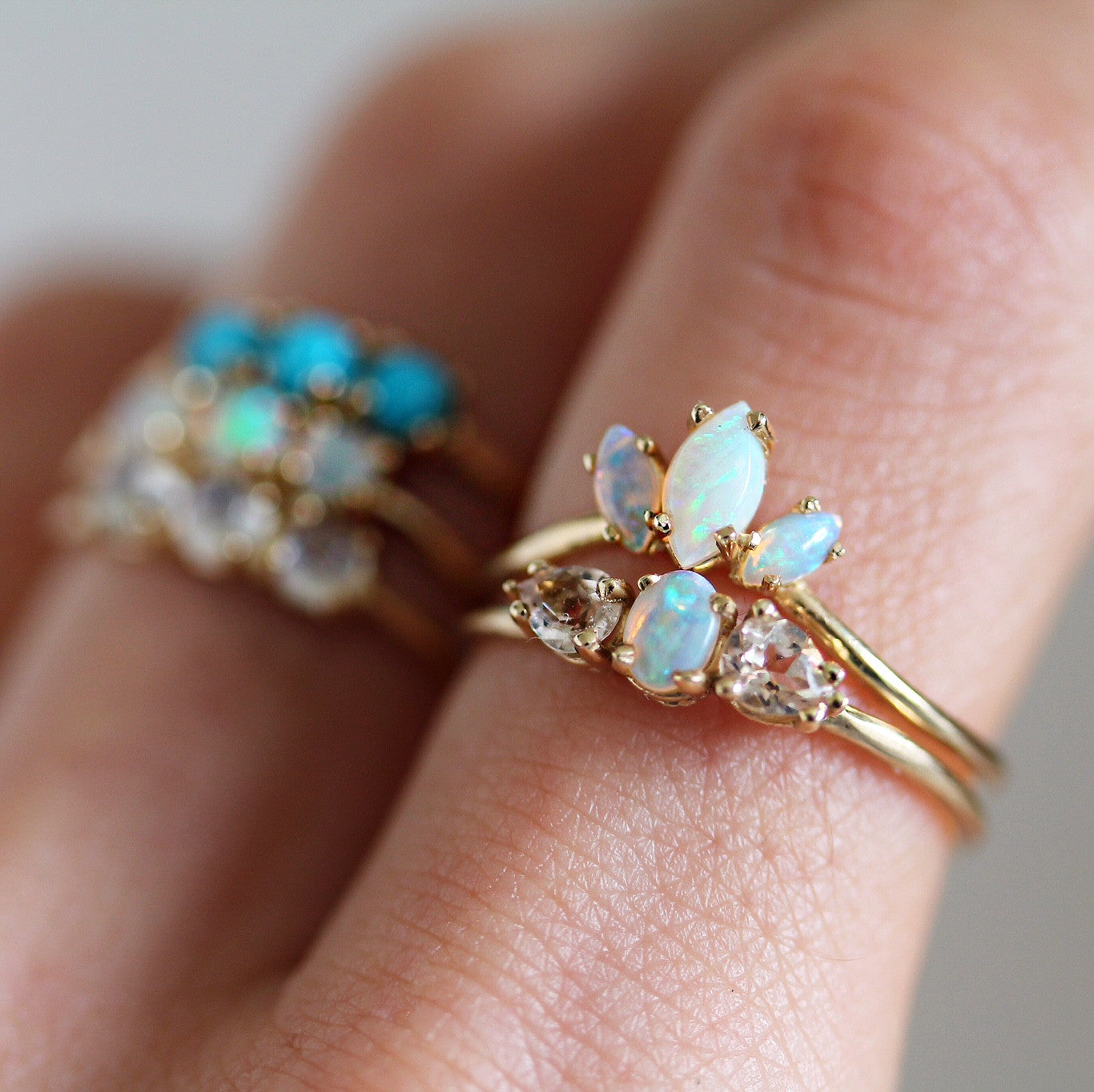 OPAL WITH MORGANITE PETALS RING