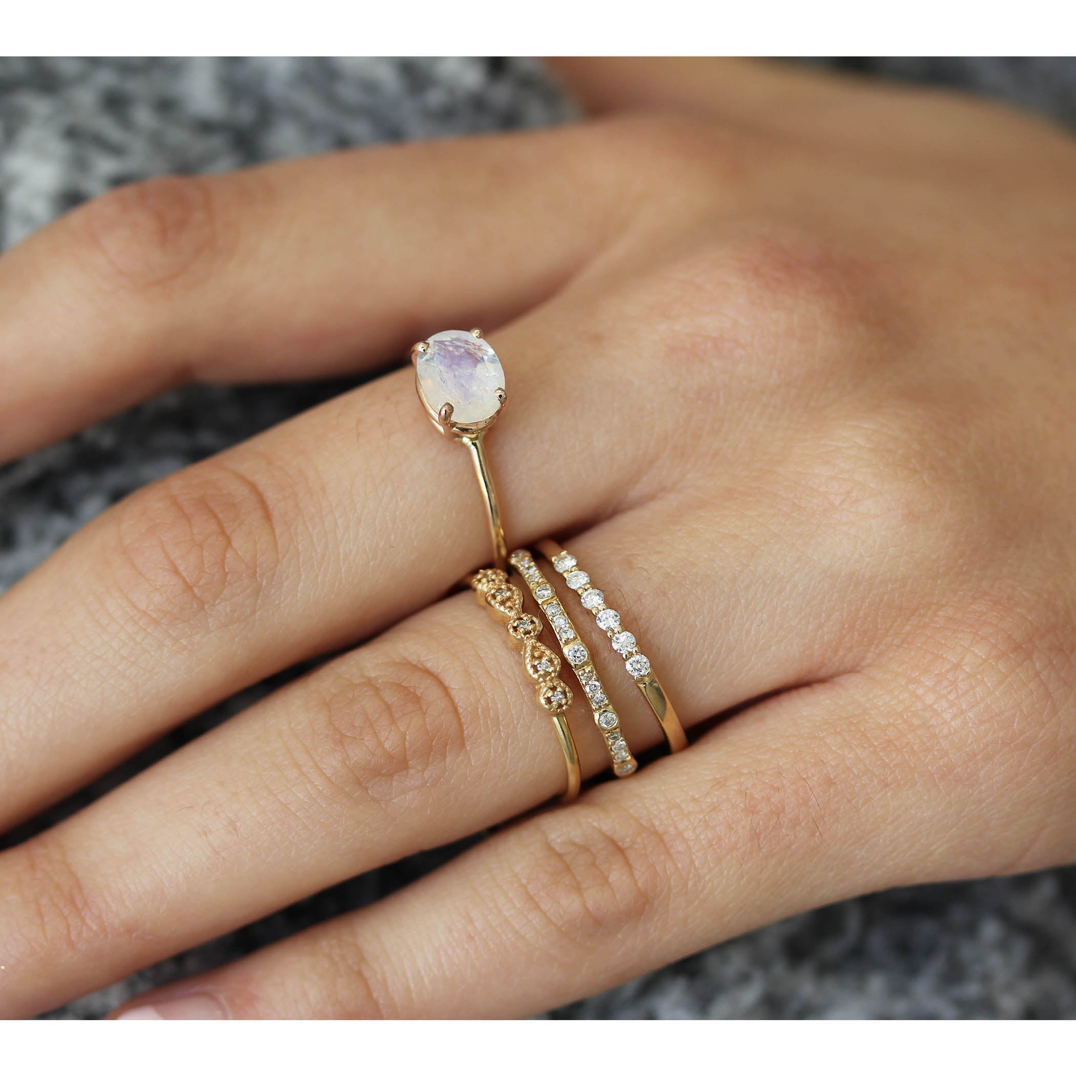 OVAL FACETED RAINBOW MOONSTONE RING