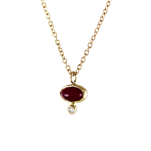 OVAL RUBY CABOCHON WITH DIAMOND NECKLACE