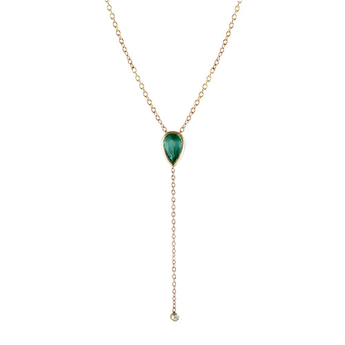 PEAR EMERALD LARIAT WITH DIAMOND END