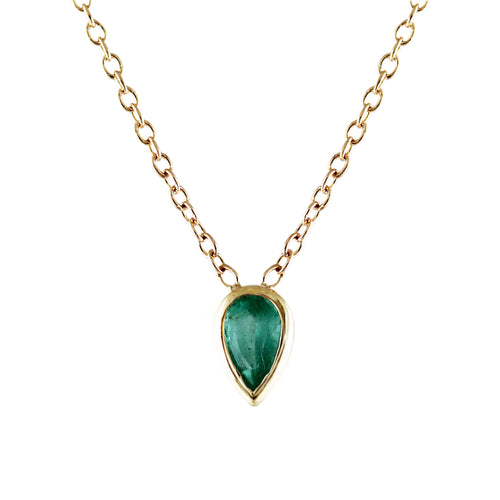 PEAR EMERALD NECKLACE