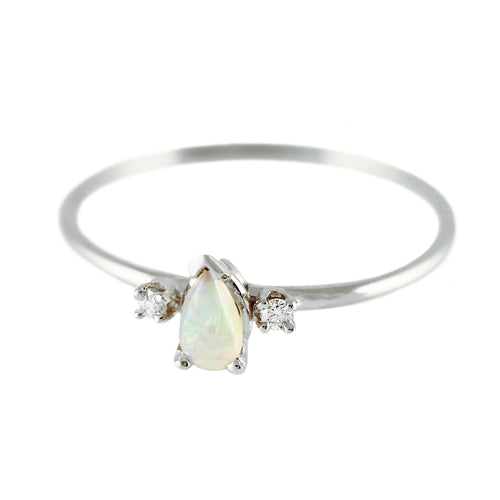 SILVER PRINCESS OPAL WITH DIAMONDS RING