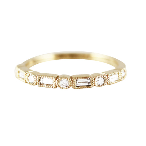 14K BAGUETTE AND ROUND DIAMOND BAND