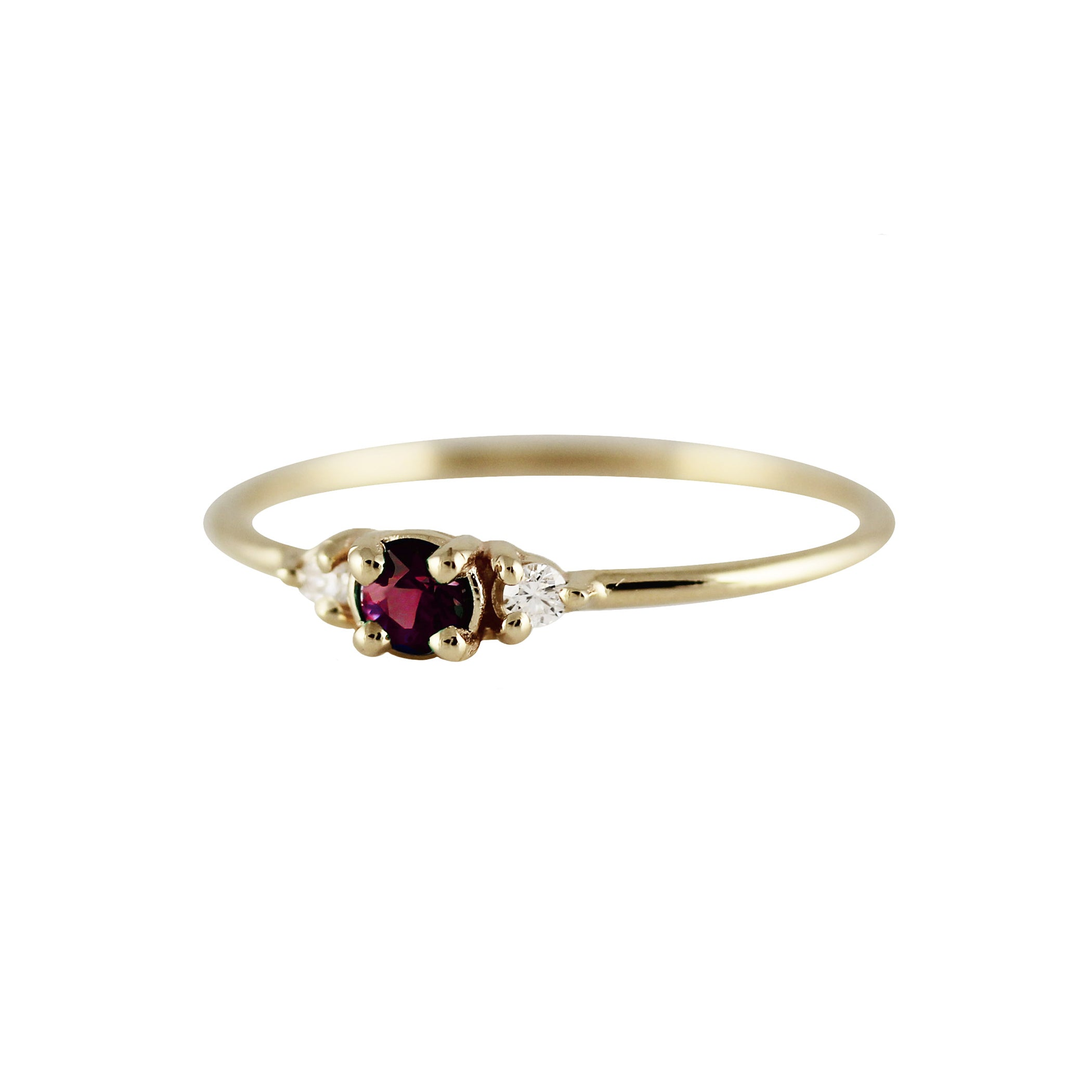 ROUND RUBY WITH SIDE DIAMONDS RING