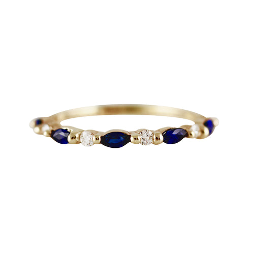 SAPPHIRE MARQUISE AND ROUND DIAMOND BAND