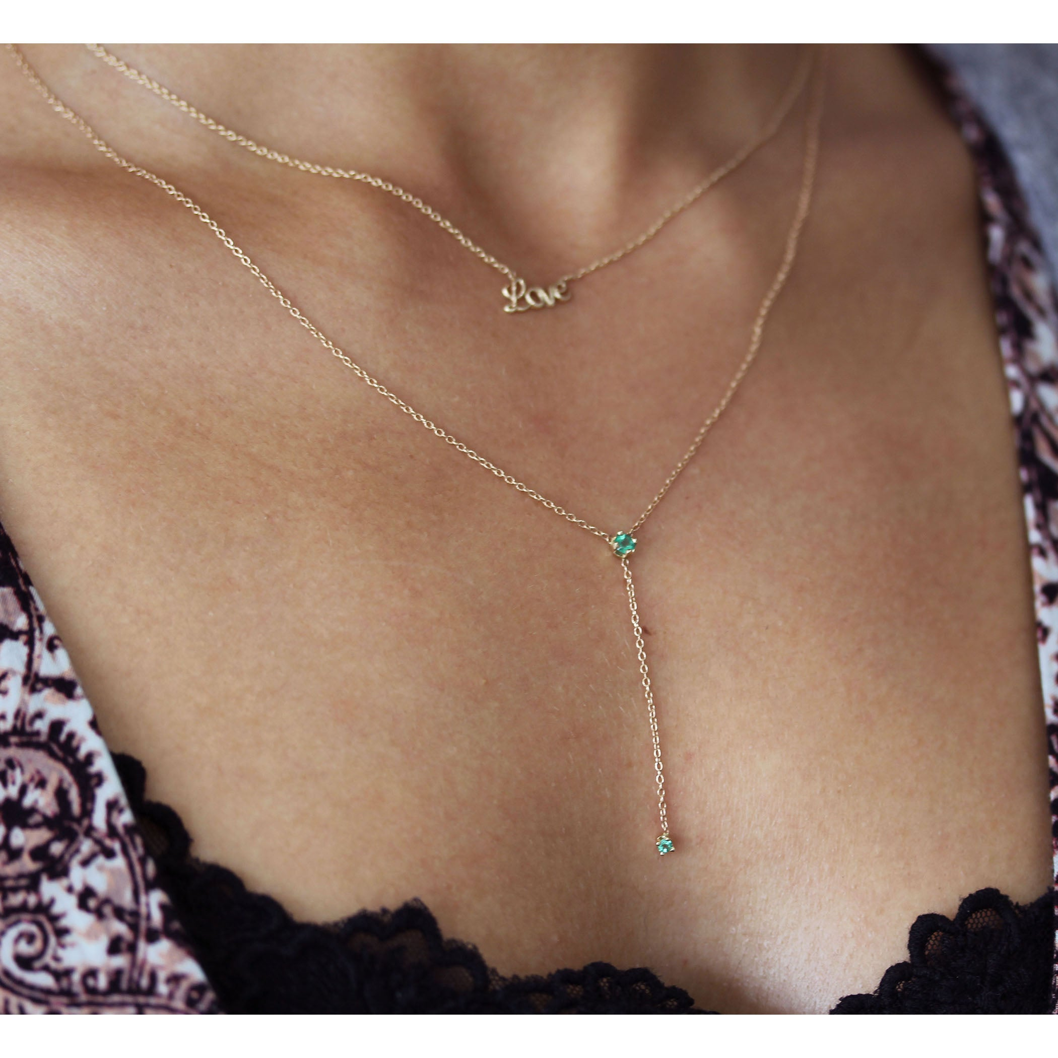 EMERALD LARIAT NECKLACE