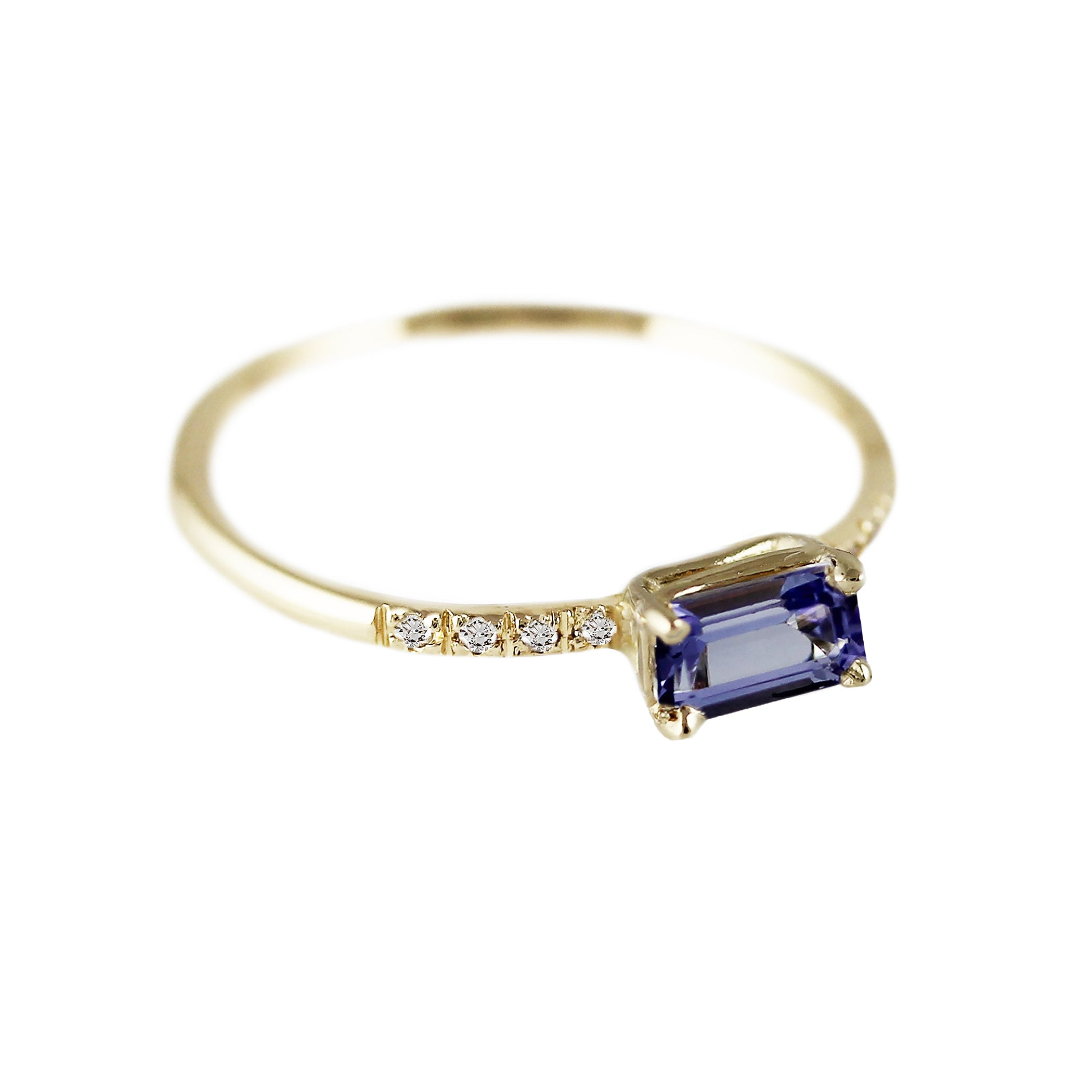 TANZANITE OCTAGON WITH PAVE RING