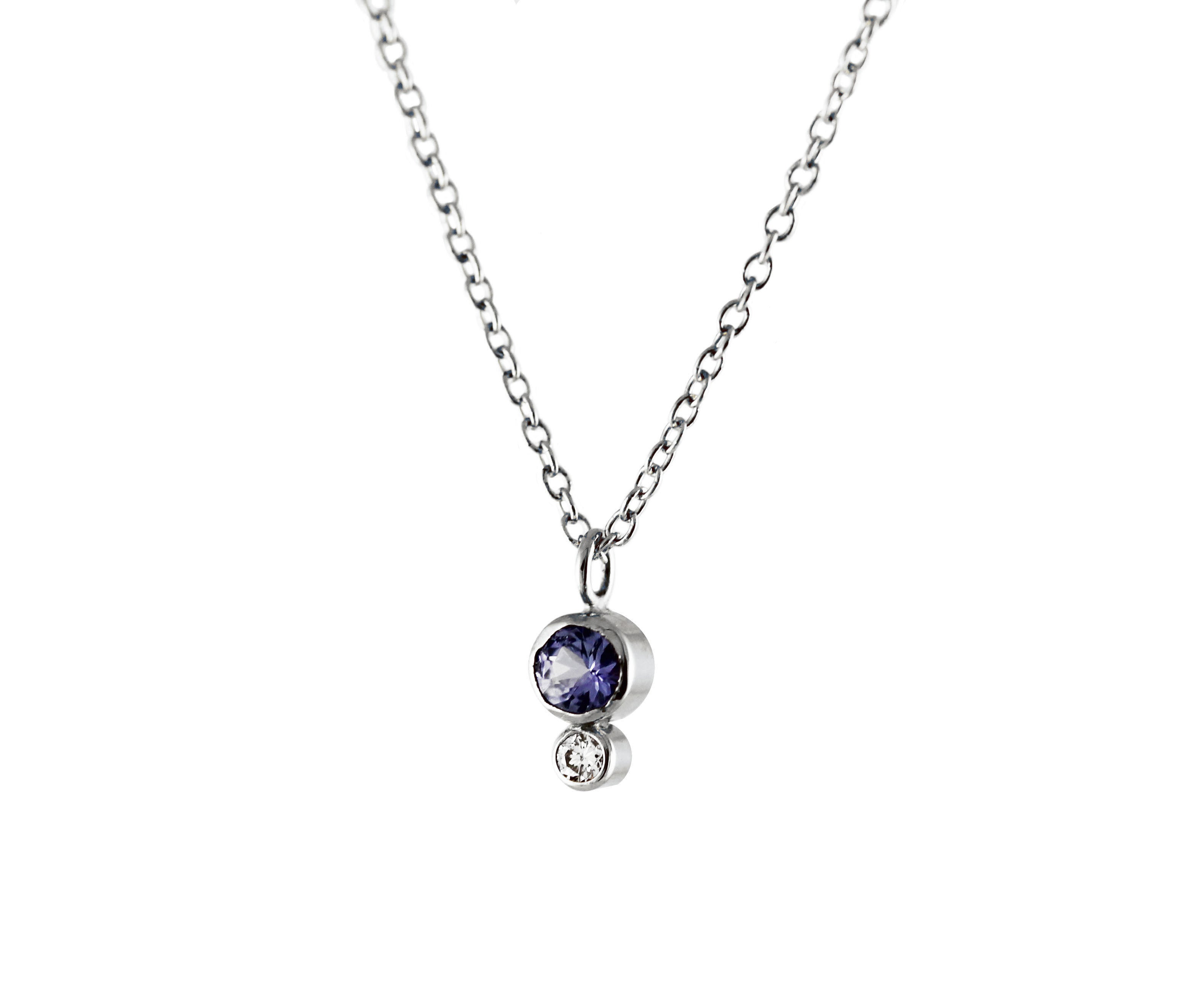 TANZANITE WITH WHITE DIAMOND NECKLACE