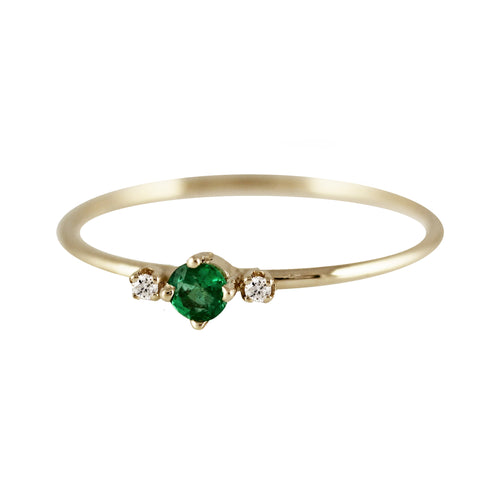 THEA EMERALD WITH SIDE DIAMOND RING