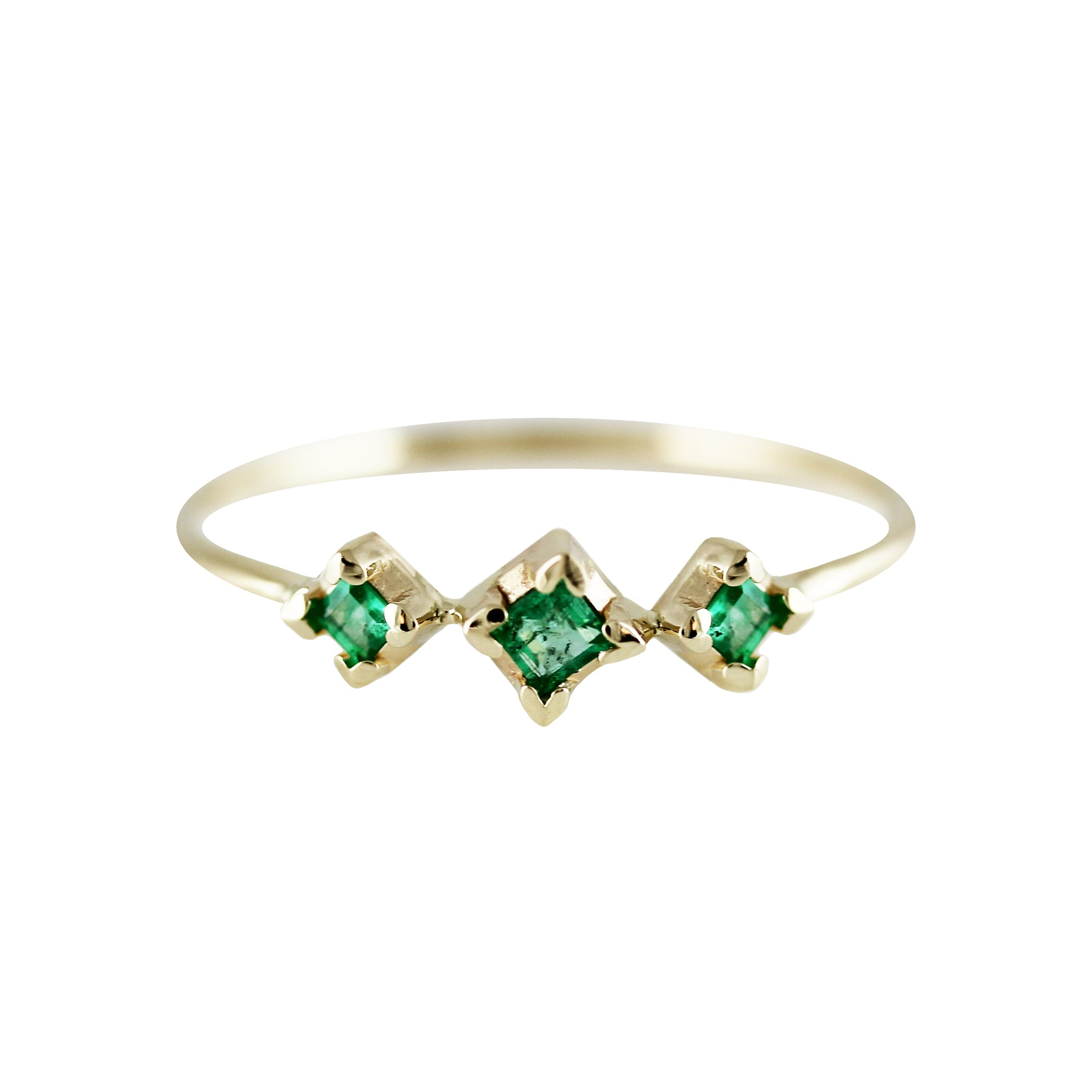 THREE SQUARES EMERALD RING