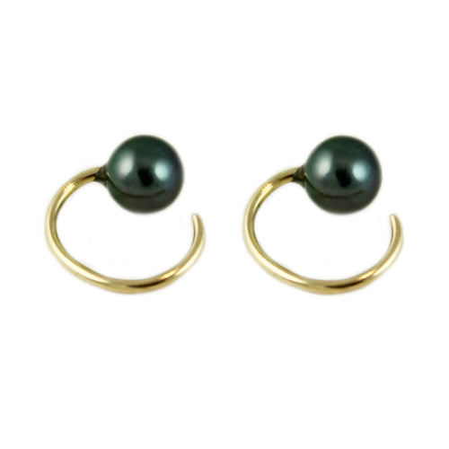 BLACK TINY PEARL EARRINGS
