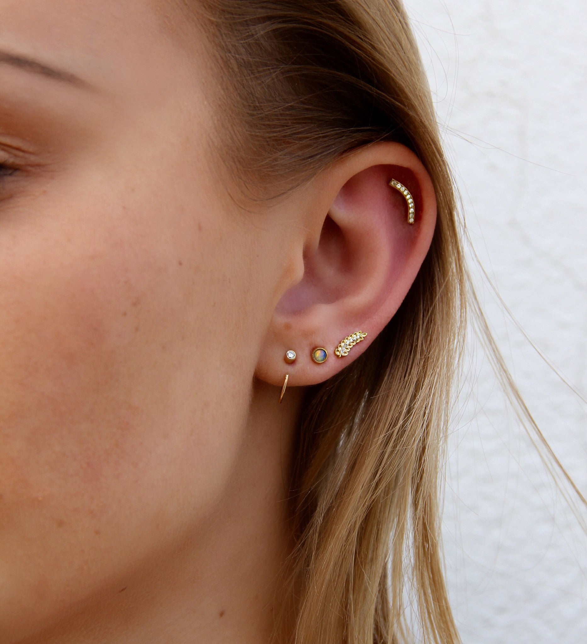pack hoop and feather stud earring